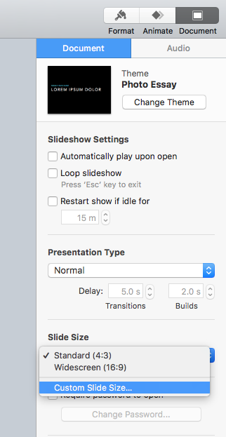 Custom Slide Size in right menu bar