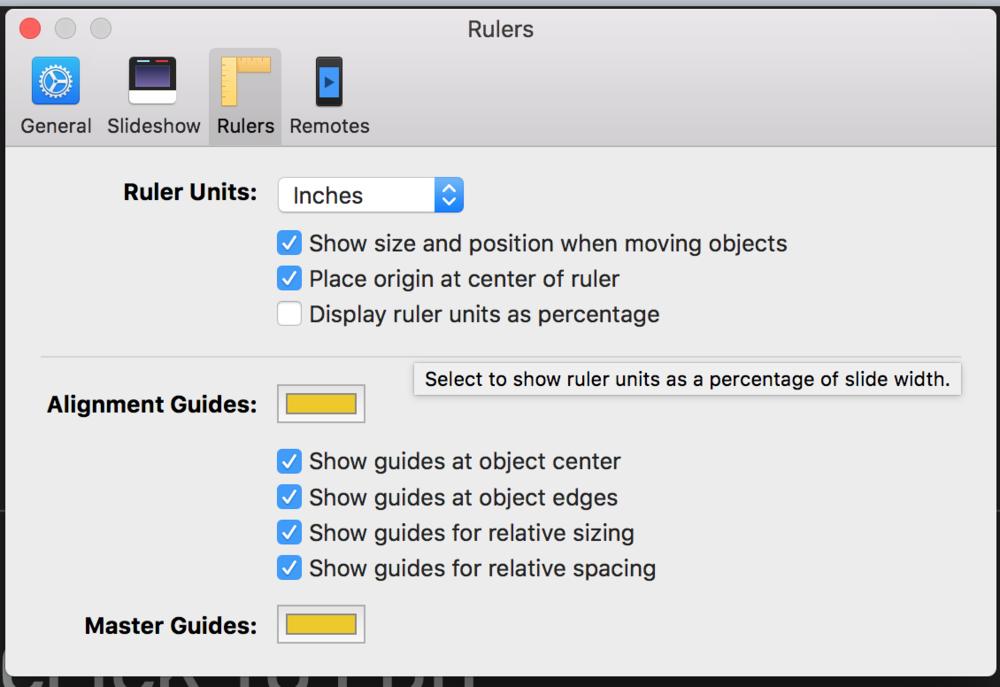 Keynote Preferences > Rulers