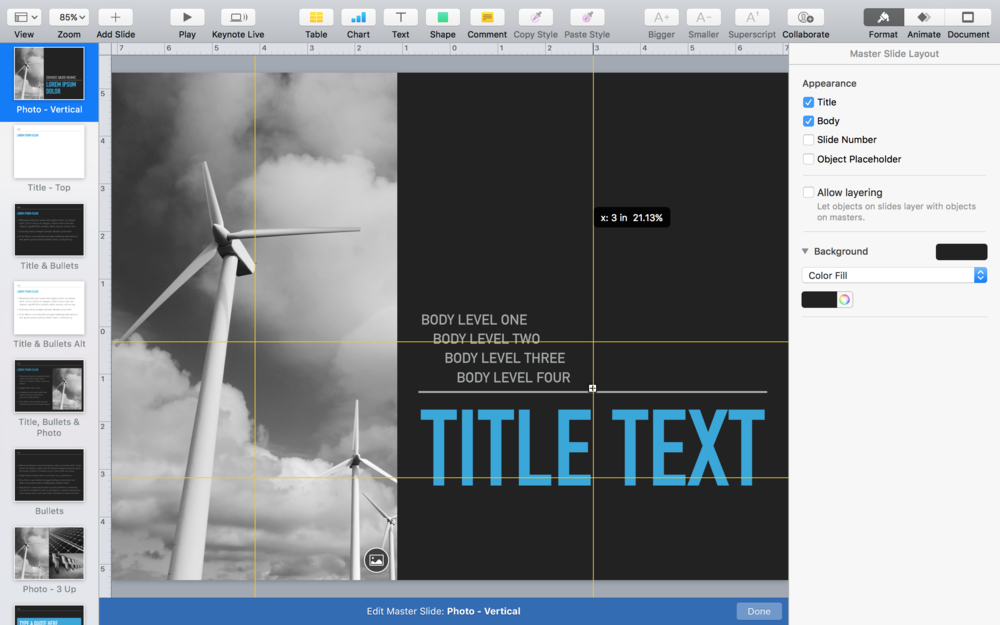 Drag from rulers to create new master guides in Edit Master Slide view
