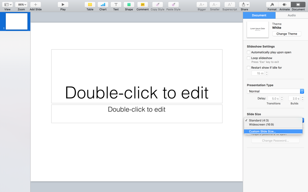 Customize slide size