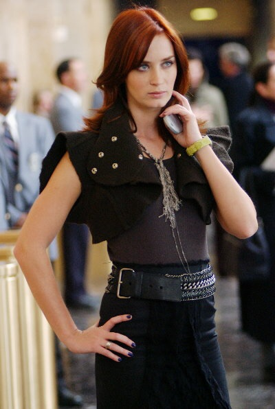 Angular, modern, stylish — Emily Blunt as Emily Charleton in The Devil Wears Prada