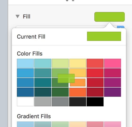 Drag over the default colors — watch for the white border