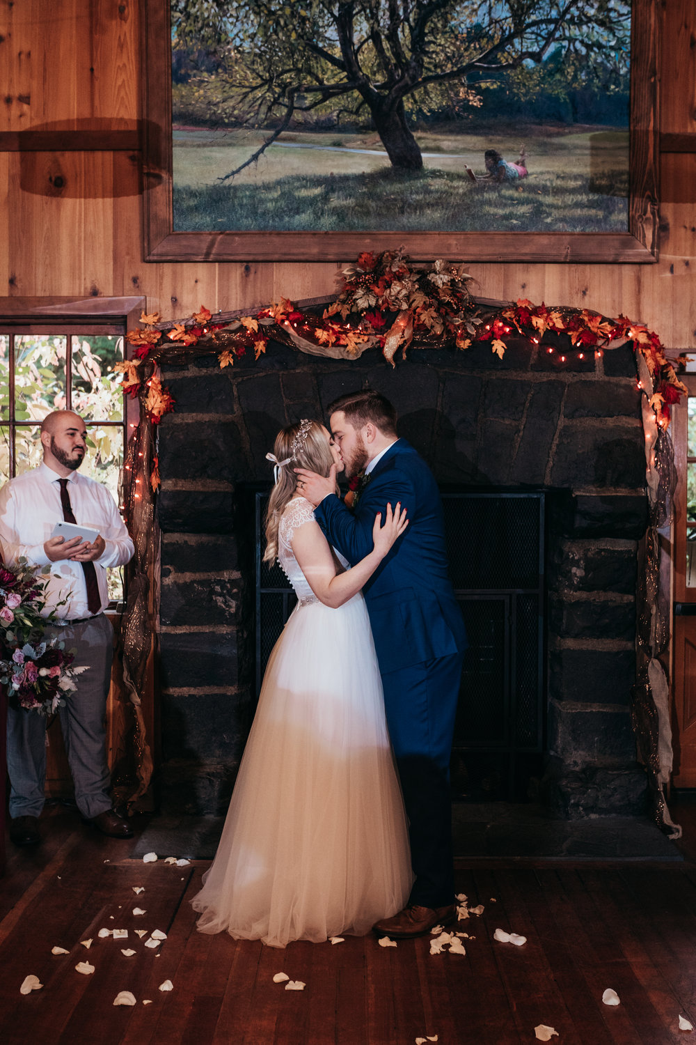 first kiss as man + wife. -