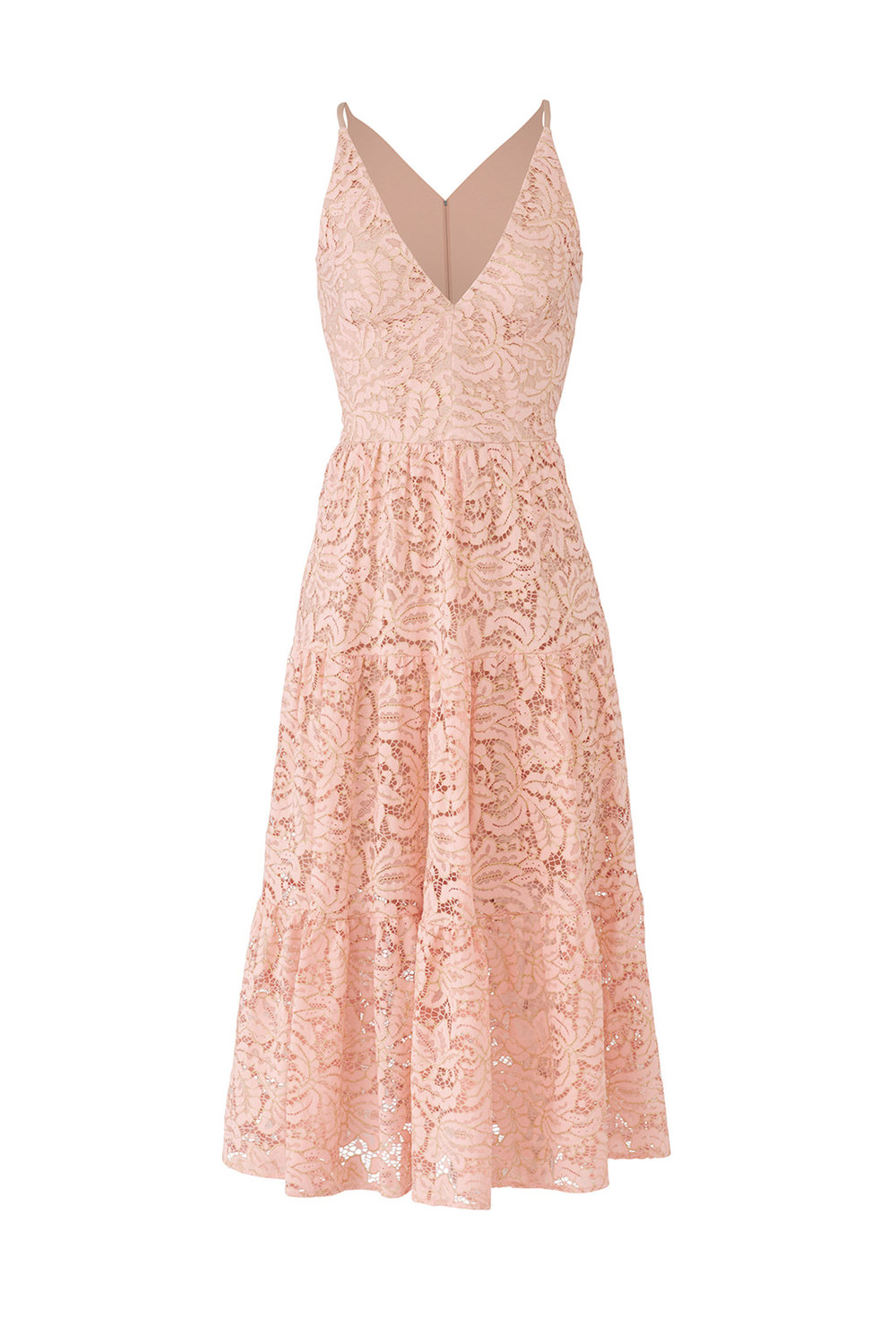 Rose Petal Alicia Dress by Dress the Population - Why It Works: Soft colors photograph more romantically, which is just perfect for your engagement session! The lace detail gives the dress texture and character while the sheer hem can let some light peek through.