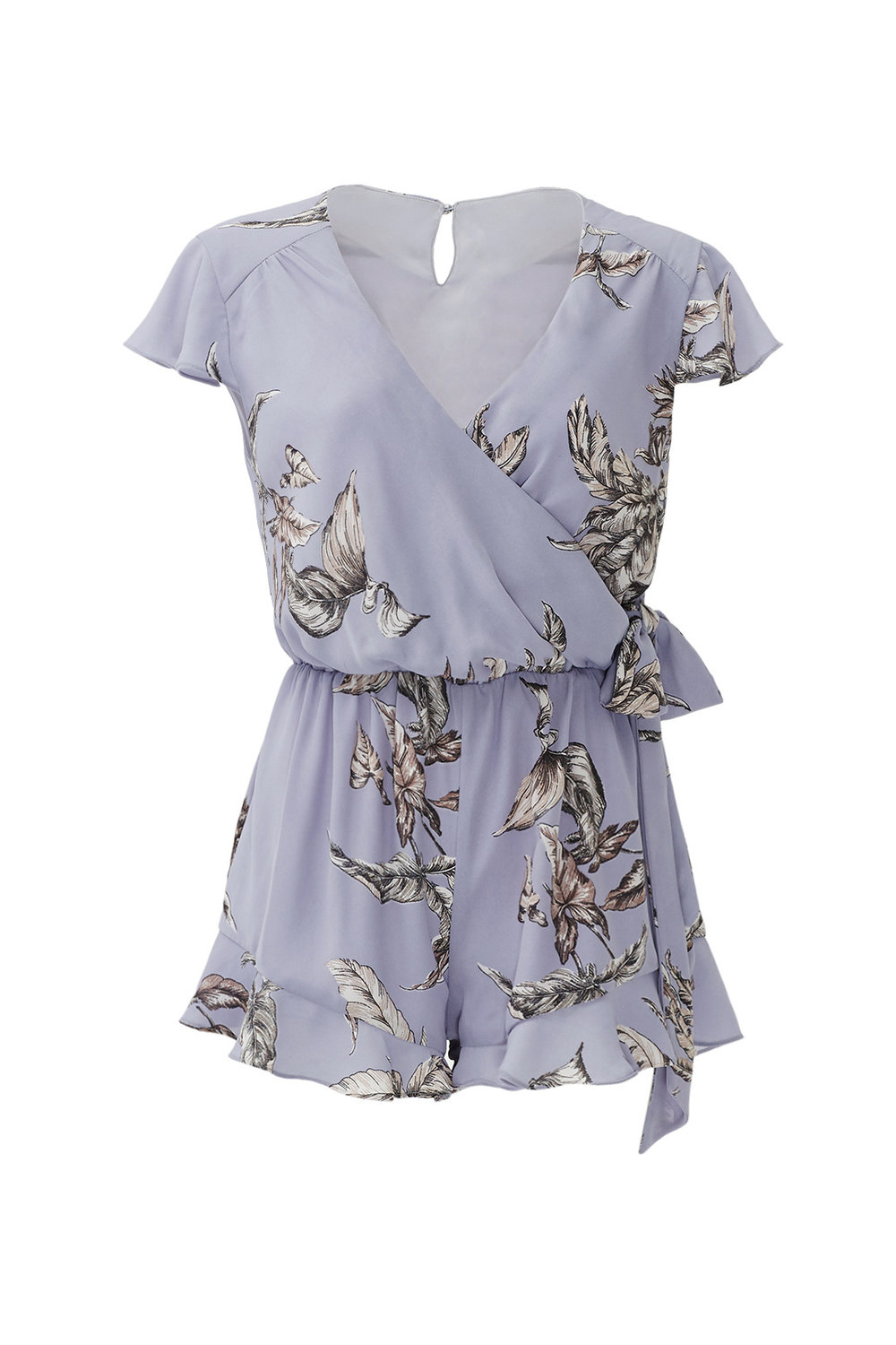 Ashby Romper by TULAROSA - Why It Works:  The larger floral print is a great option for clients who prefer a little pattern.  The lavender color is soft and romantic and the wrap top will flatter the natural waist.