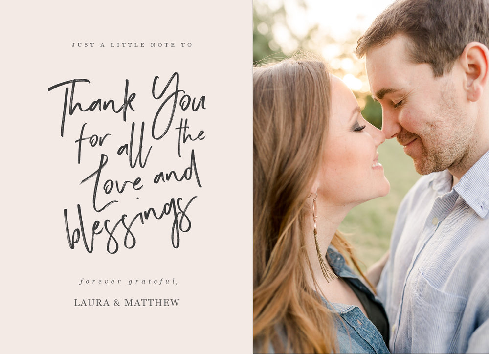 Thank you cards - Create customized greeting cards to thank your bridal shower and wedding guests for their attendance and generosity! Everyone will just love the personalized touch.