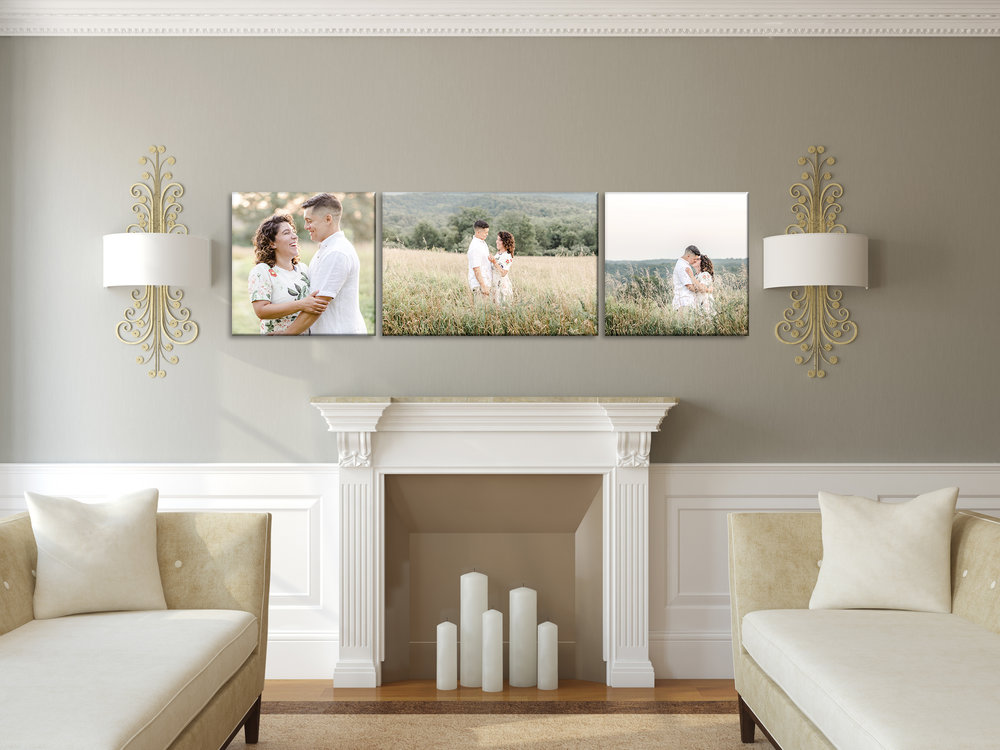 Decorate Your Home - Options are endless when it comes to how you can display your engagement (and wedding day) images in your home! Fine art prints, metal prints, canvases, oh my! (Looking for inspiration? I love this post by Pottery Barn on 6 Ways to Set up a Gallery Wall!) For professional quality, color accuracy and convenience, I always recommend purchasing print products directly through your photographer.(image courtesy of Pottery Barn)