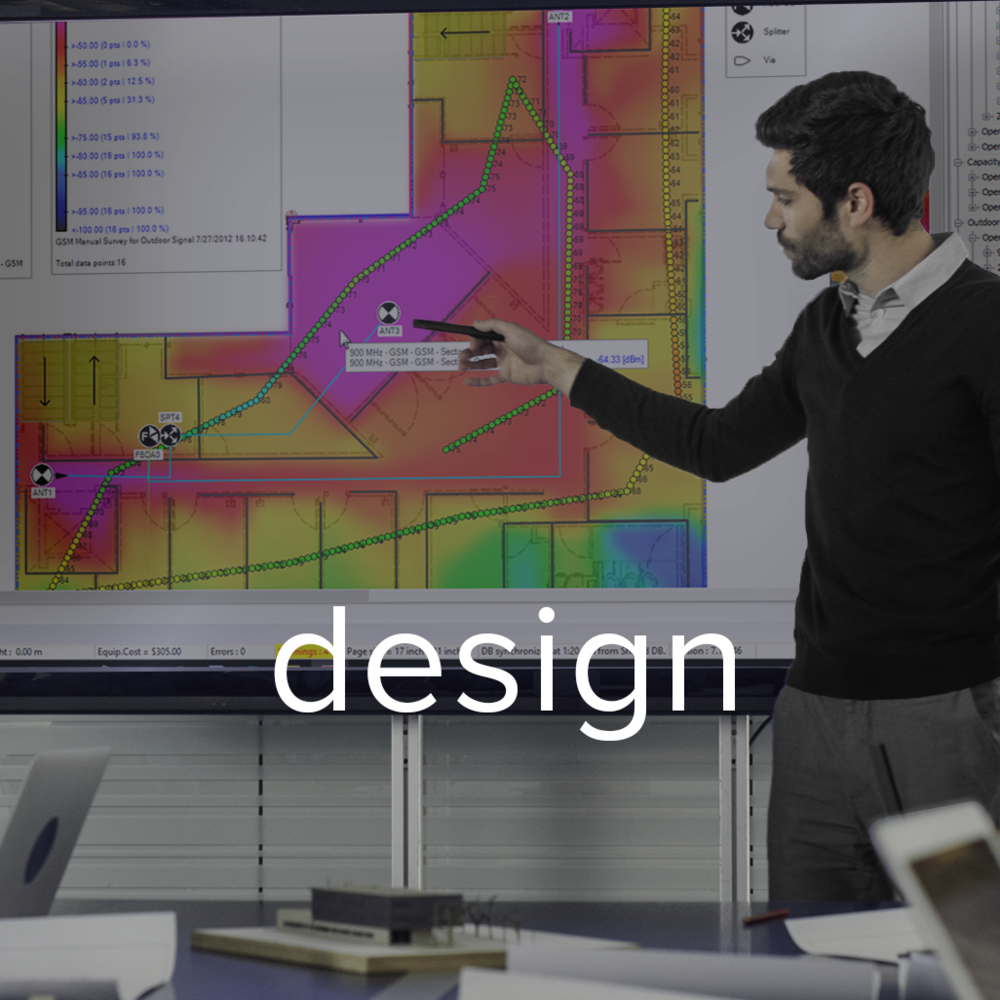 Our  RF Design  Team provides system planning, propagation modeling, data collection, model tuning, costing, and validation services for in‑building cellular, public safety, and Wi-Fi solutions.  Each design is done by a certified iBwave engineer, to ensure full compliance with the Key Performance Indicators (KPIs), defined by the building owner, carrier(s), and/or the public safety Authority Having Jurisdiction (AHJ).       Designs are done with macro eNodeBs, small cells, remote radio units (RRUs), and repeaters, as signal sources. Distribution methods include coax based passive DAS, fiber based active DAS, and Ethernet based access point architecture.
