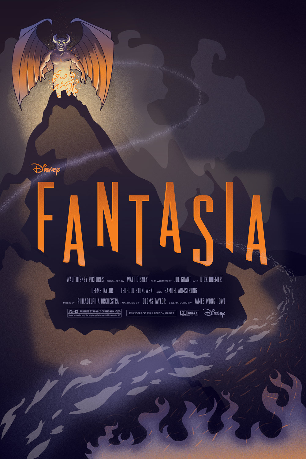 Fantasia Movie Poster & Colatteral - The objective was to recreate a movie poster from Disney's colorful past along with movie collateral, so I chose the original Fantasia because of my love of classical music and the vivid animation that sprang from the movie. Night on Bald Mountain was the sequence that I thought would be the most interesting to work with in regards to all the dark imagery and color palette that was used throughout. I created a movie poster, a popcorn bowl, movie tickets, a cup wrap, as well as a cut-out memorabilia doll.