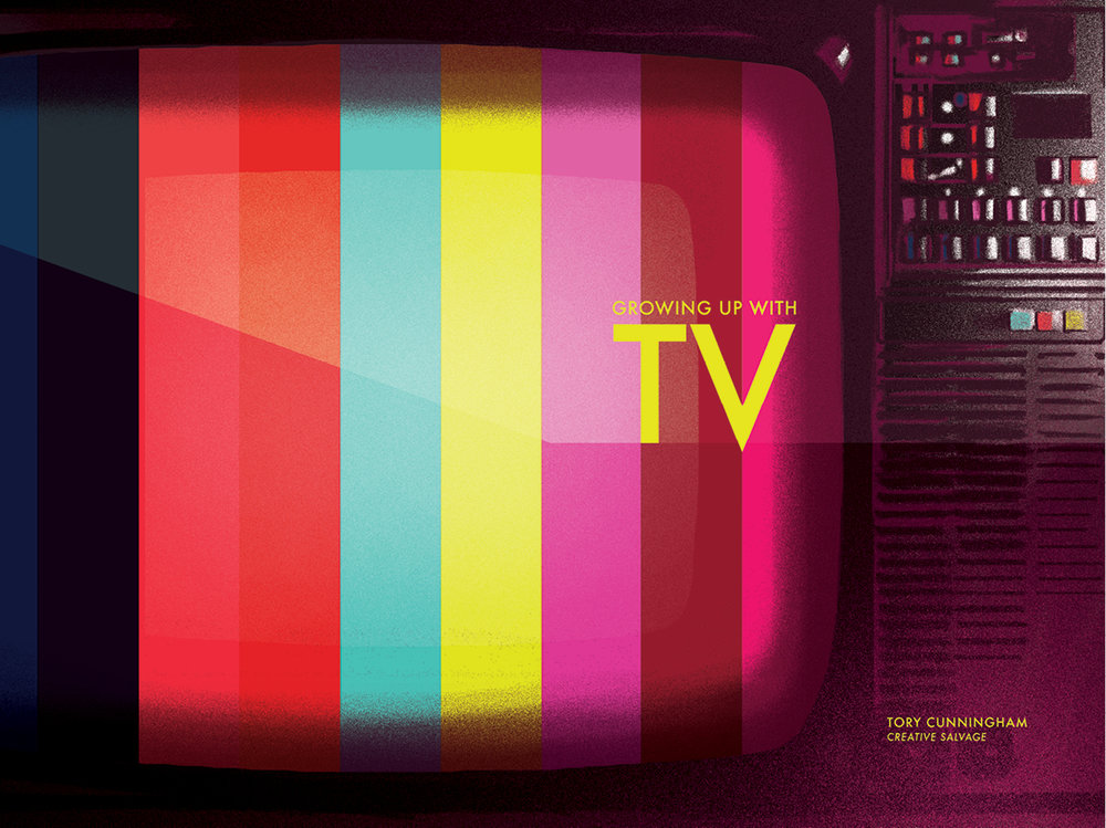 Growing Up With TV - The theme for this project was the TV shows that impacted me in my youth. There was a 3000 word minimum that ended up being 36 pages, as a perfect bound book. All illustrations and majority copy were original.Bright colors, along with a fun use of display typography were my main goals with the book due to how vivid each of the shows were. I wanted to give them enough of their own spotlight for the reader to grasp how influential they were on me.