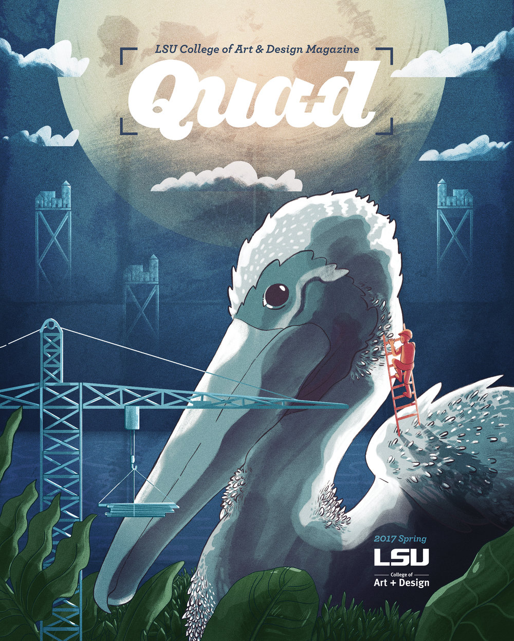 Quad cover - LSU's College of Art and Design produces Quad, which is a magazine for alumni of the college. Louisiana faced some of the worst flooding in its history so the challenge for the cover was to symbolize moving forward and rebuilding, using the state bird as iconography.