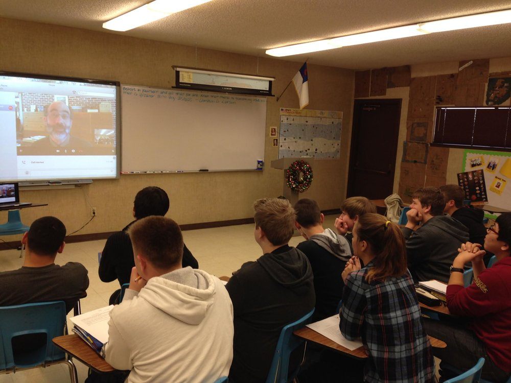 American Lit class on a live Skype with the Director of the Thoreau Museam in Massachusetts after reading On Walden Pond