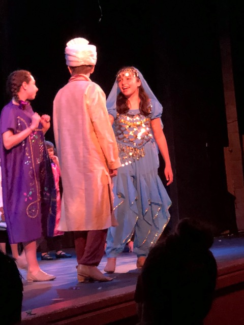 A VGK acting student shows her skill as Jasmine in the performance of Aladdin.