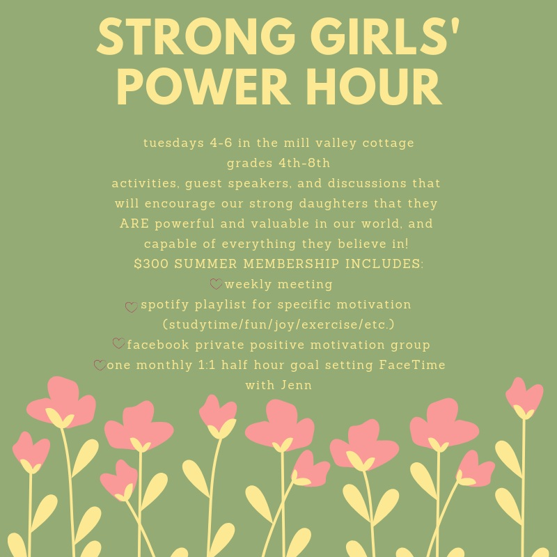 2019 Strong Girls' Power Hour - Join us for a unique time of celebrating our girl power! This summer, our girls can gather in a joyful, fun, energetic space to uplift and learn together! Powerful female guest speakers, group activities, and discussions will help our 4th-8th grade girls discover who they are and their role in our world as a strong female surrounded by other strong females!