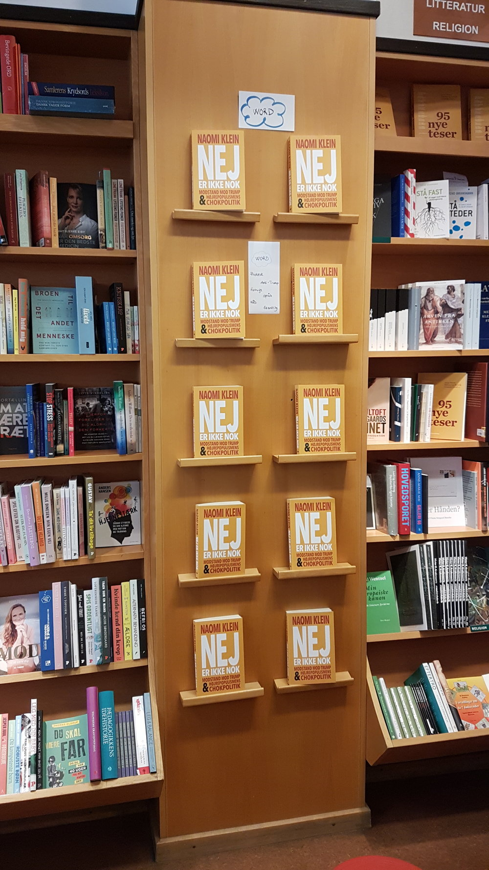 I forgot to take a photo of my English copy before I left for Denmark but I found this shelve of Danish additions of the book in the Kristian F. Møller bookstore in Aarhus.