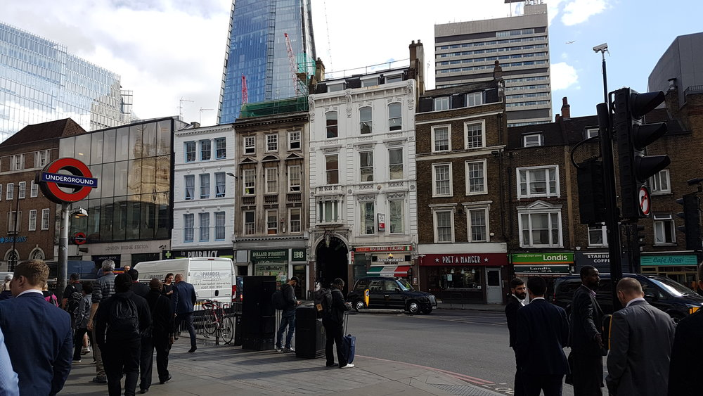 Here is the obiligtry photo of the bottom of The Shard and a sign for the Underground.