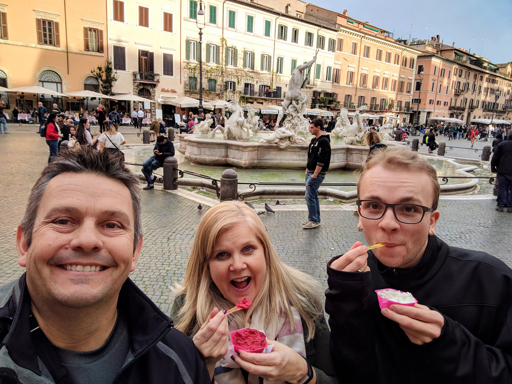 Fab selfie taken by my dad of him, my mom, and I. I think this is great even though I am the only one of us actually looking into the camera. We're eating gelato in the  Piazza Navona .