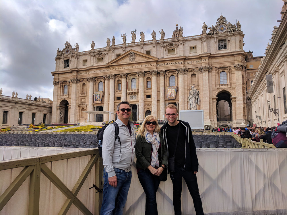 Here's a photo of us in  St. Peter's Square  taken by a kind stranger.