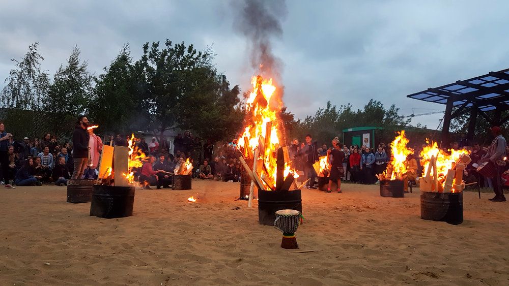 Photo from  Sankt Hans Aften , celebrated at Aarhus K,   Institut for (X) ,  Godsbanen .
