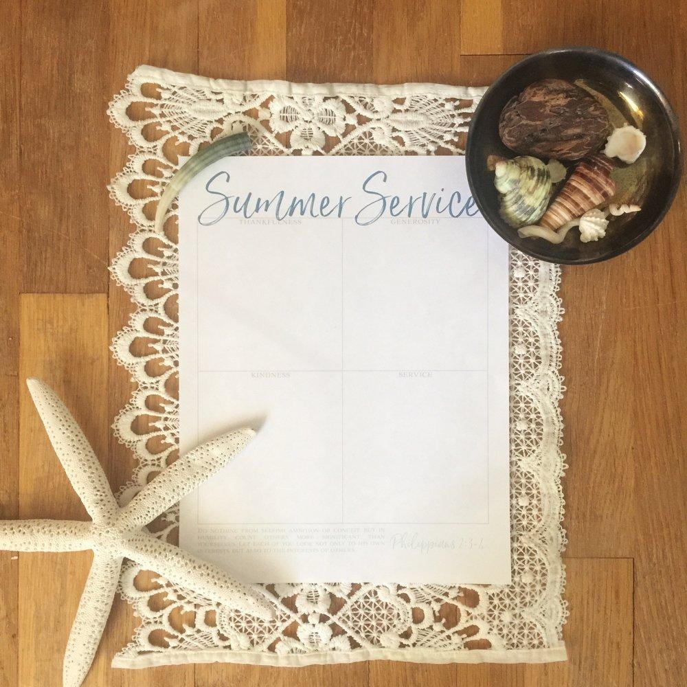 Free Printable Summer Service Tracker