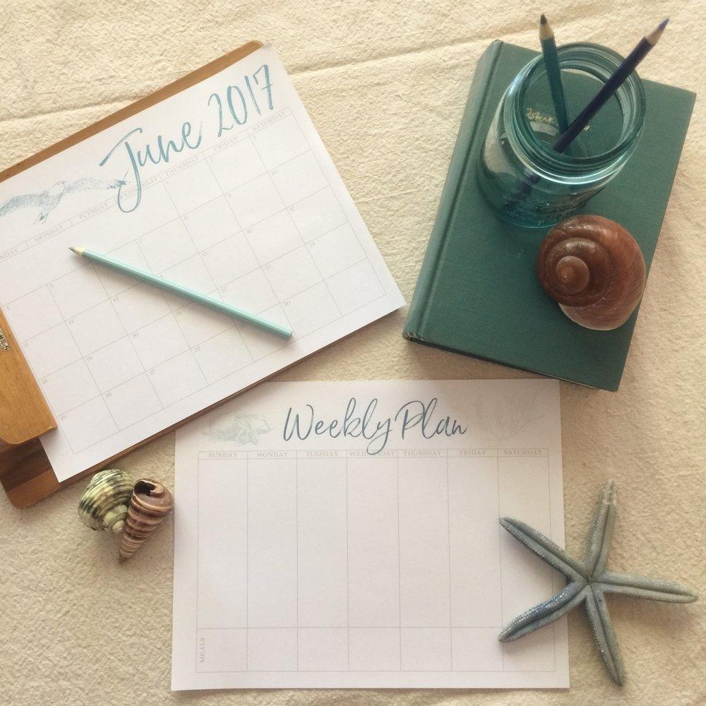 Free Printable Calendars and Weekly Plan