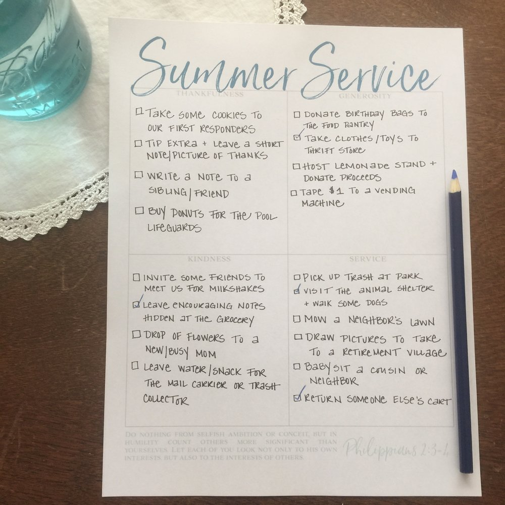free printable service project list