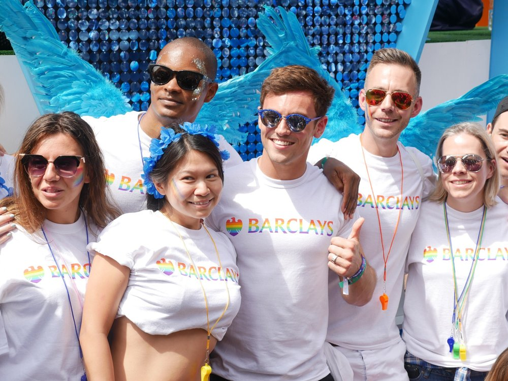 Tom Daley and Barclays at the 2017 Pride in London Parade.