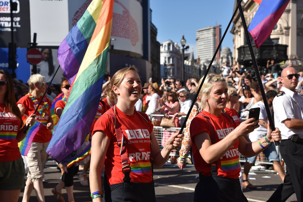 Supporters walking in Pride in London Parade