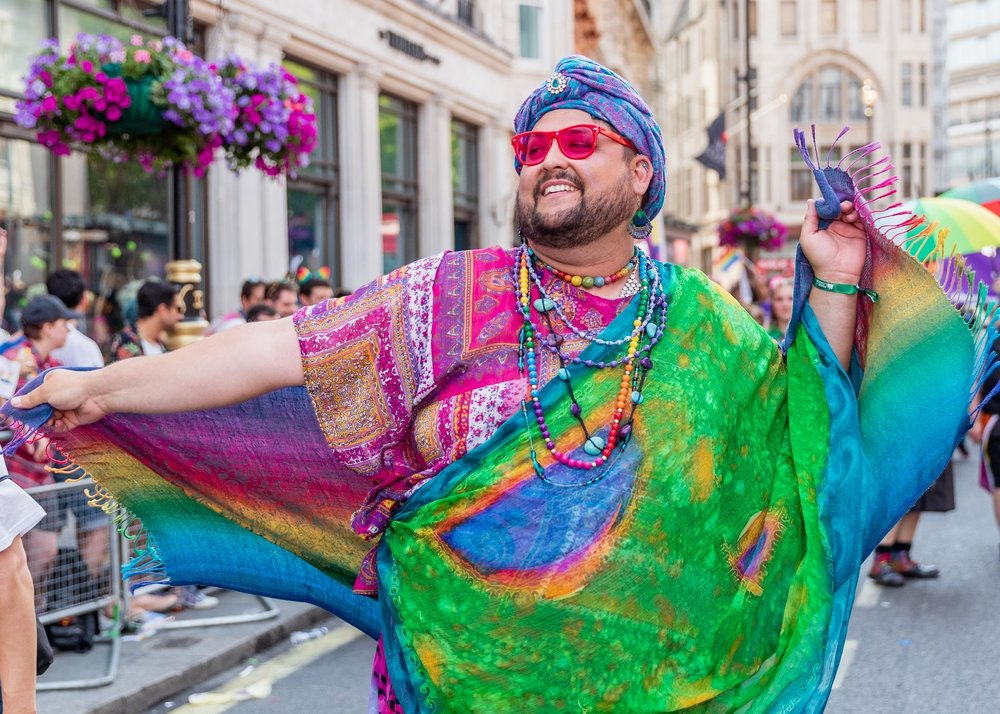LONDON, ENGLAND - JULY 07: Sikh dancing during Pride In London 2018. Pride In London is the UK's biggest, most diverse Pride which provides a platform for every part of London's LGBT+ community (lesbian, gay, bisexual, trans*, queer, questioning, intersex, non-binary, asexual, polysexual, genderqueer and gender variant people) to raise awareness of LGBT+ issues and campaign for the freedoms that will allow them to live their lives on a genuinely equal footing on July 7, 2018 in London, England. (Photo by John Banyard/Pride In London)
