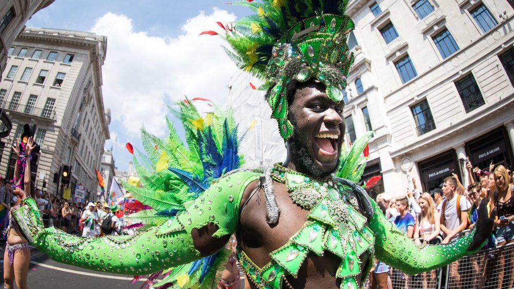 LONDON, ENGLAND - JULY 07: Dancer during Pride In London 2018. Pride In London is the UK's biggest, most diverse Pride which provides a platform for every part of London's LGBT+ community (lesbian, gay, bisexual, trans*, queer, questioning, intersex, non-binary, asexual, polysexual, genderqueer and gender variant people) to raise awareness of LGBT+ issues and campaign for the freedoms that will allow them to live their lives on a genuinely equal footing on July 7, 2018 in London, England. (Photo by Carol J Moir/Pride In London)