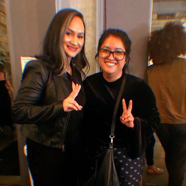 """Throw some """"P""""s on that.... Peace signs that is. Our very own Co-creator @descobedo throwing up them peace signs with @msladyjustice1 at the @teenvogue summit last year. ✌🏾✌🏾"""