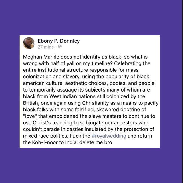 Ebony, always keepin folks grounded with the knowledge! P.S. Ebony and Ericka's live talk last night was 🙌🏾. P.S.S. Happy Birthday Ebony 🎂! Post via @ihartericka Instagram Story. #RoyalWedding