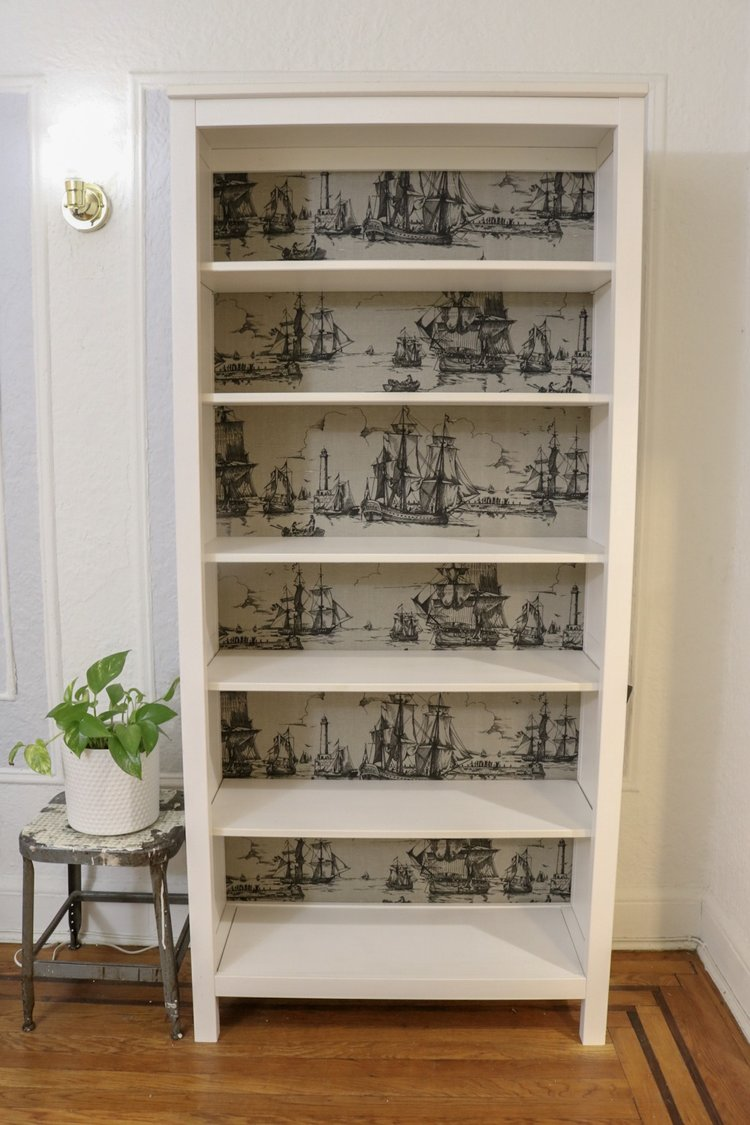 Our Very First Blog Post Was Changing Out The Plain Backing Of Ikea Bookshelf With This Black And Grey Printed Fabric