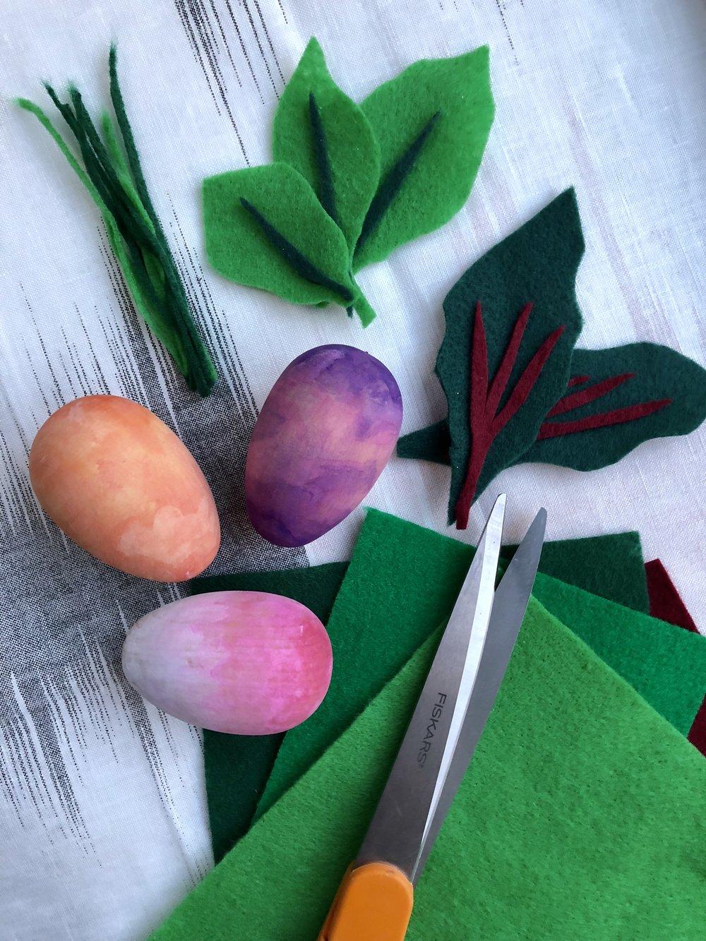 DIY Wooden Watercolor Root Vegetable Easter Eggs