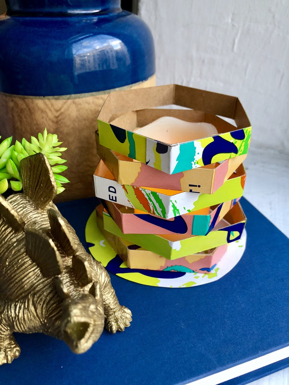 Upcycled La Croix Box Candle for Earth Day