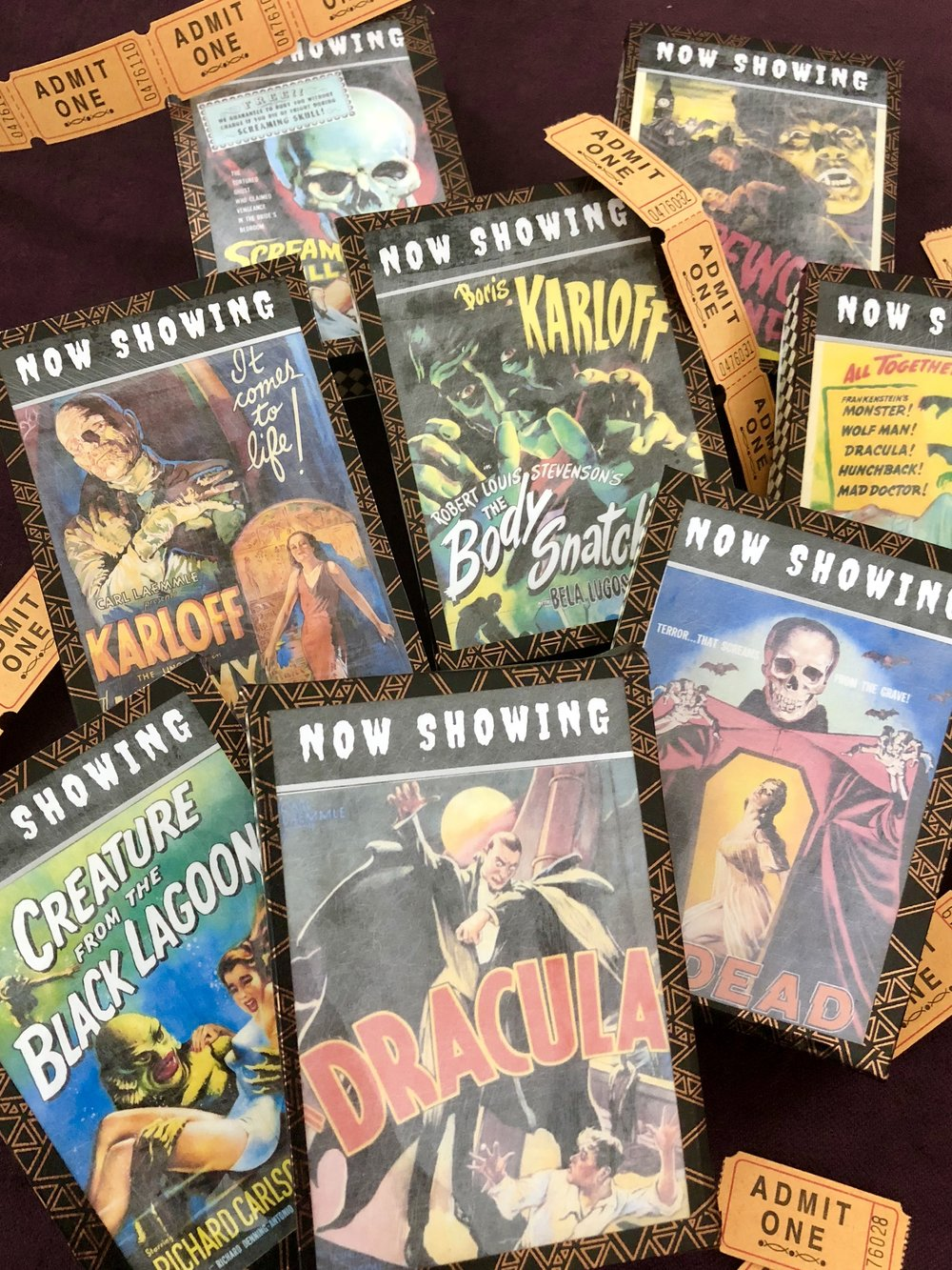 Dollar store DIY classic horror movie light boxes for Halloween.