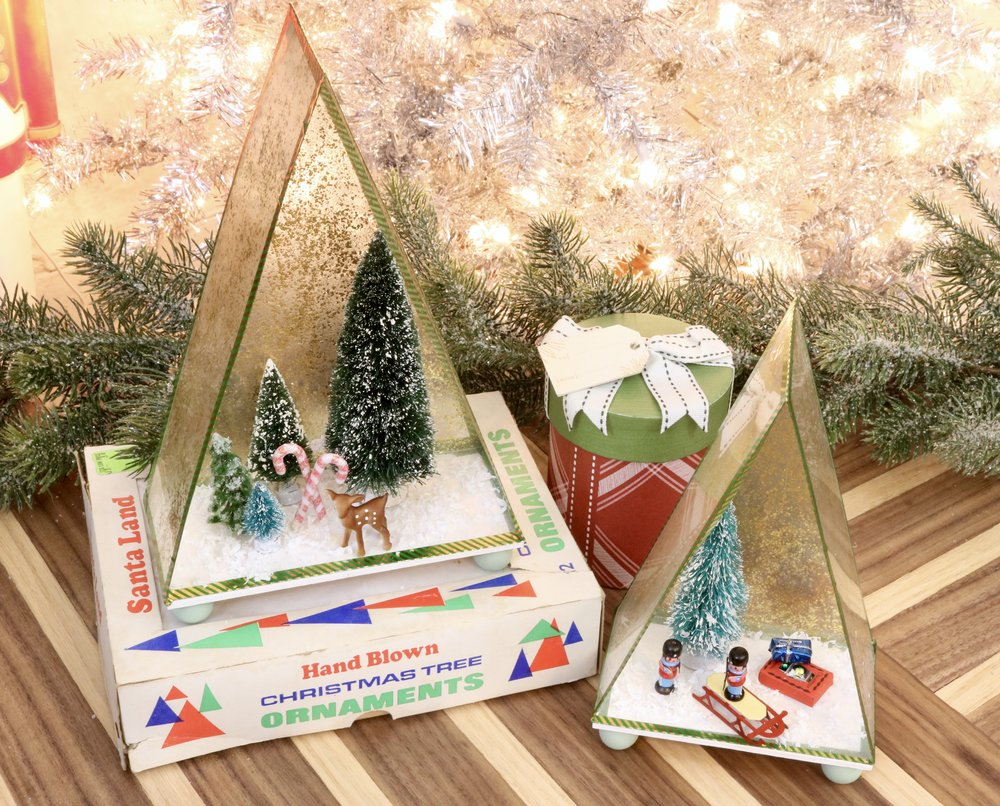 DIY Vintage Inspired Christmas Shadow Box using Mod Podge Mega Glitter and Shrinky Dinks paper