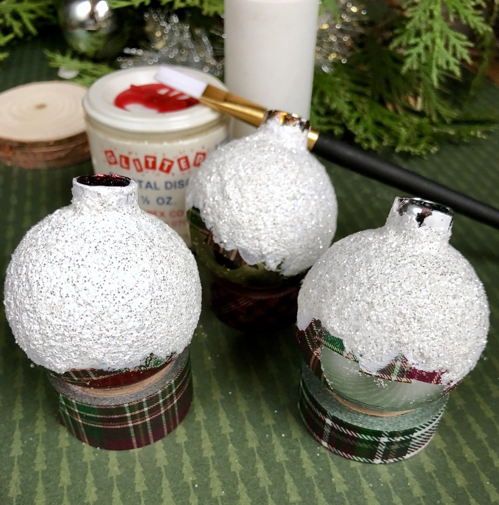 Mini Frosted Ornament Vase inspired by  A Charlie Brown Christmas- Dollar Store Christmas DIY, upcycled ornaments