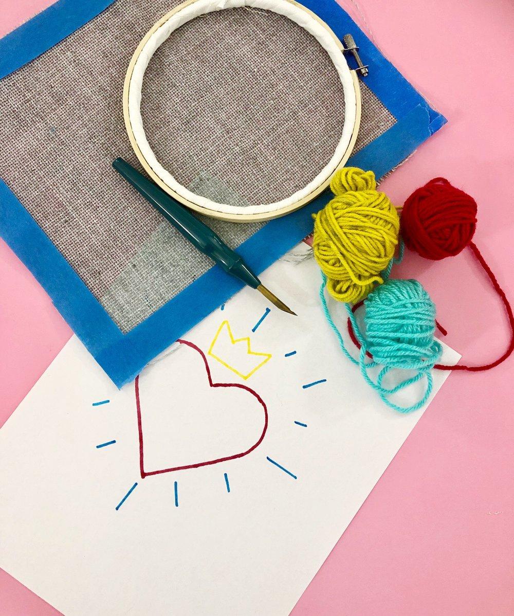 Quick Valentine's Day Punch Needle Art! Easy DIY Valentine's Day Decor!
