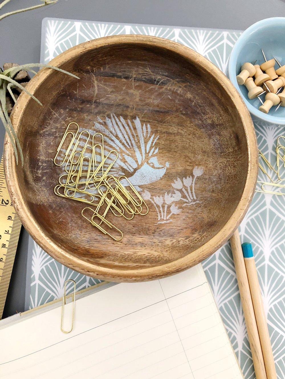 Stenciling tips for beginners. Martha Stewart adhesive stencils. Wooden Bowl up-do. #porcupine #stenciling #acrylicpaint #officesupplies #deskorganization #diy #plaidcrafts #upcycleddiy #stencilcraft #stencilproject