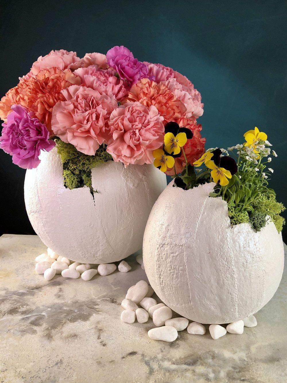Plaster Easter Egg Vases