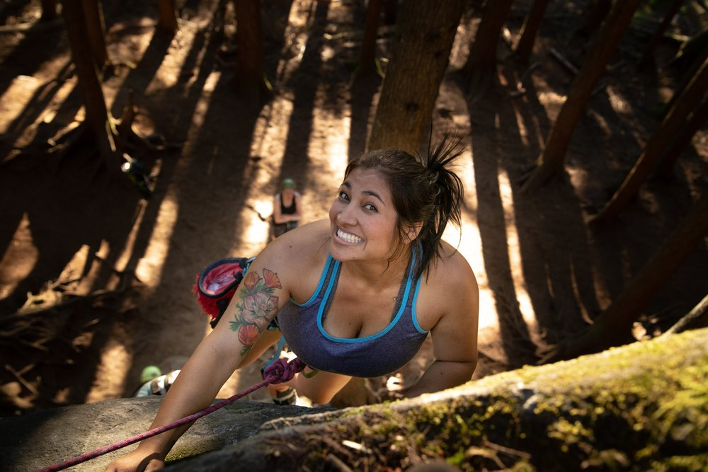 Maria Moran climbing at Gritscone at Exit 38 during the Never Stop Moving Exit 38 Climbing Series!  Photo Credit:   Heather Dubrall Photography  [ photo cropped ]   WebMD Health & Wellness Coach; Registered Dietitian; Bachelors Degree in Foods & Nutrition from Cal Poly Pomona