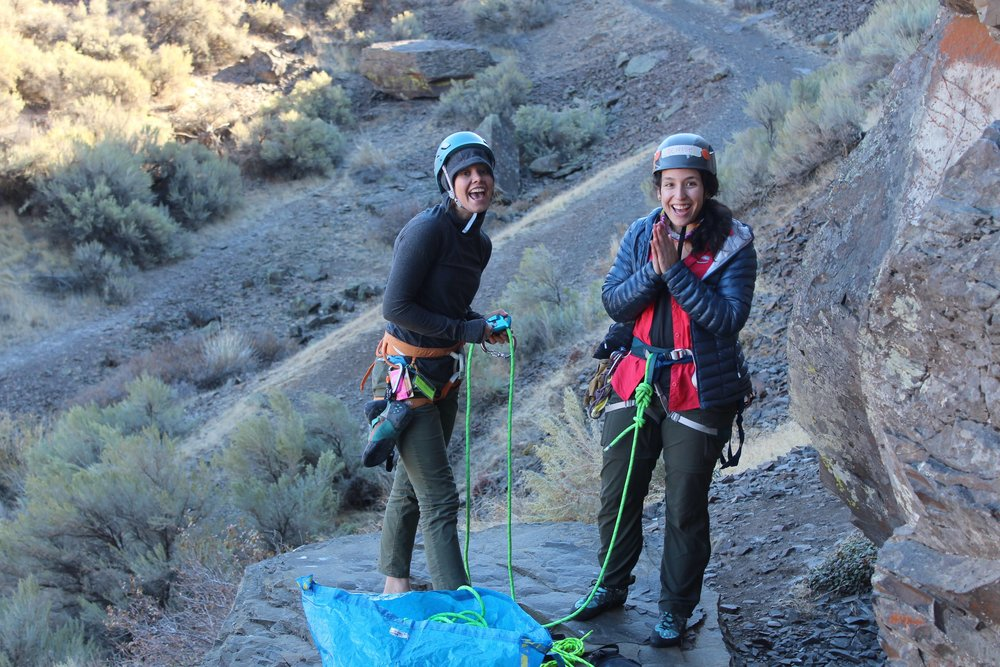 Amanda and Denise enjoying getting on lead during a NSM climbing trip to Vantage, WA. Photo by Megan Fritz