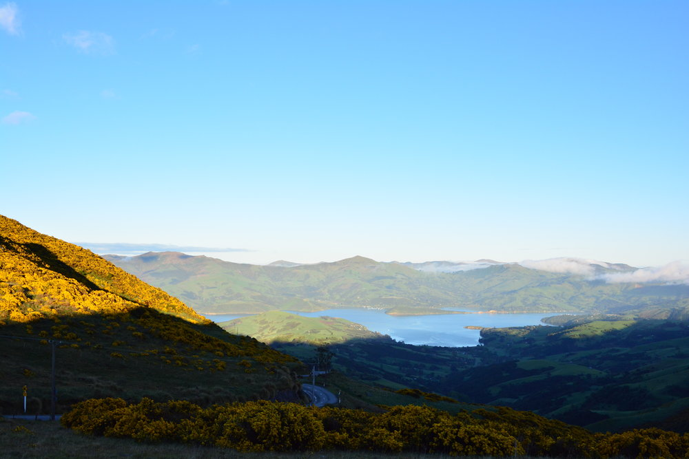 Sunrise painting the hills.