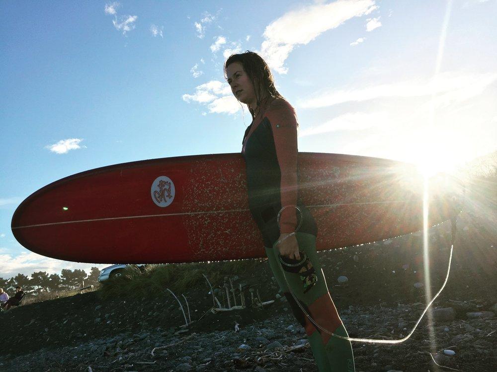 surf board in kaikoura, new zealand