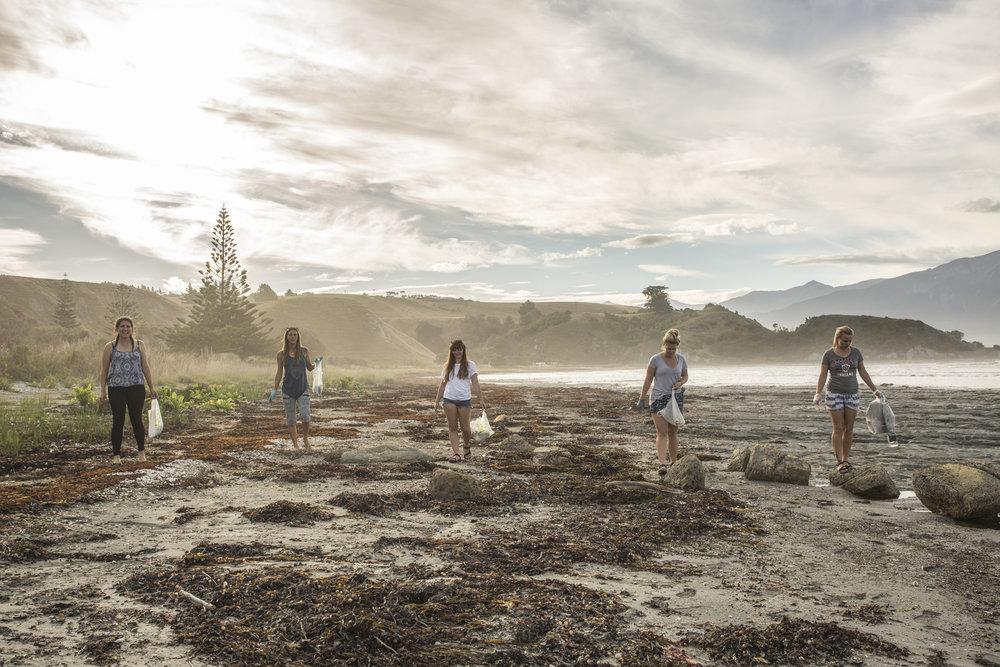 A beach clean in Kaikoura, NZ
