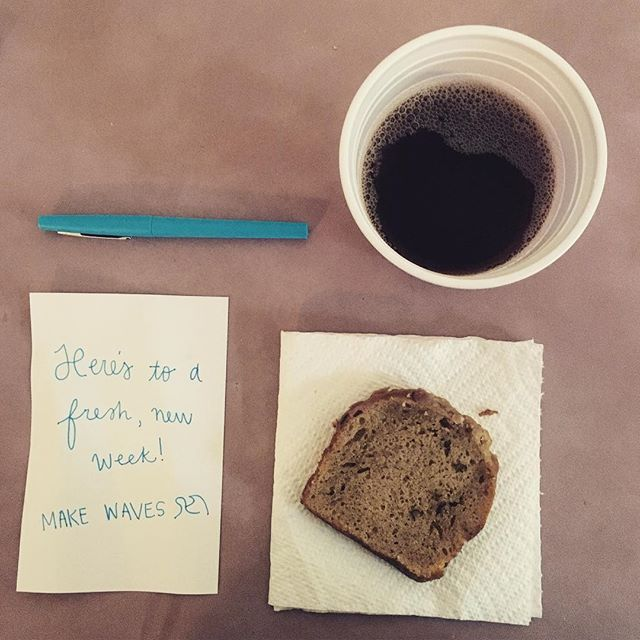 Trying to be insta-artsy with my cold brew and banana bread... at a card table using red solo cups and paper towels for plates. It's not how exactly how I pictured it, but it's fresh and exciting and worth savoring every second of this new little life. ☕️ #makewavesmonday