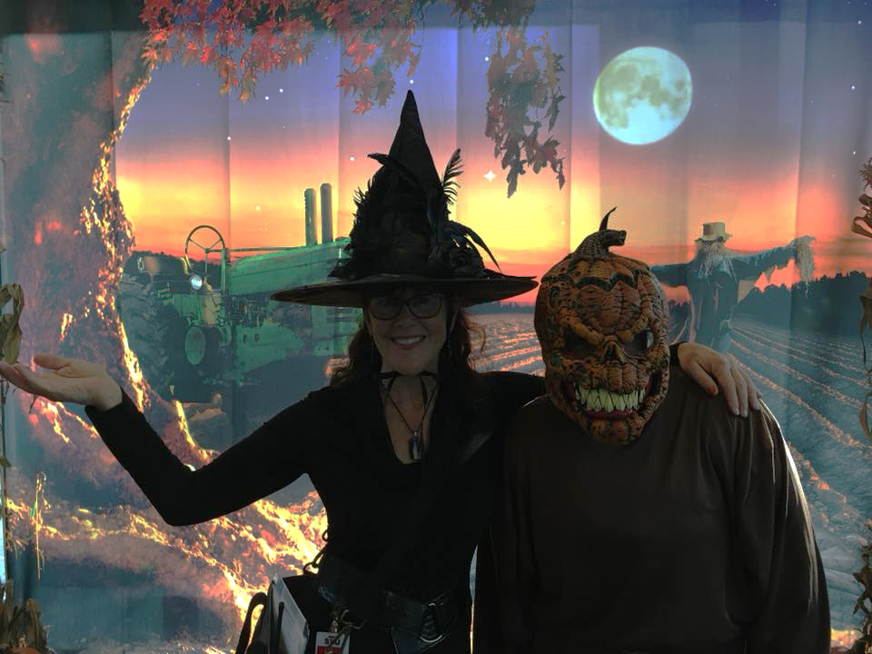 Lorie Thomas, SHW SVP of Event Services, is ready to greet families from Mary's Place at a corporate haunted house.