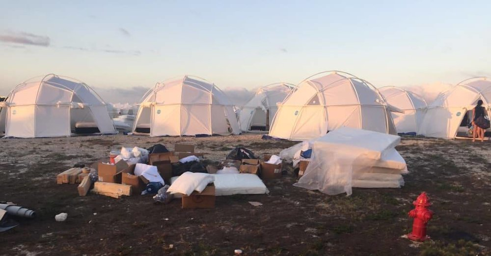Leftover FEMA Disaster Recovery Tents at the Fyre Festival