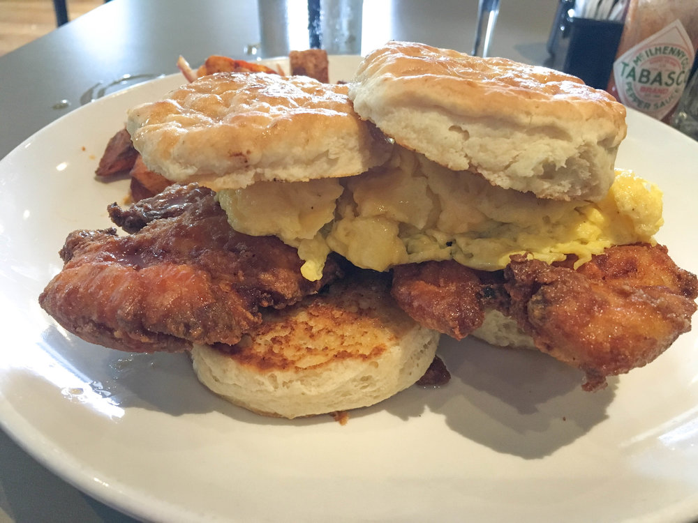 bri rinehart; savin hill bar + kitchen; brunch; chicken + biscuits